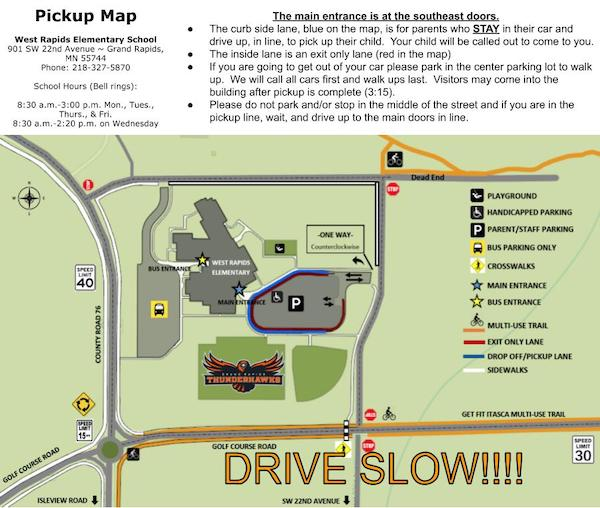 Map of school with pick up info, contact us for alternate format