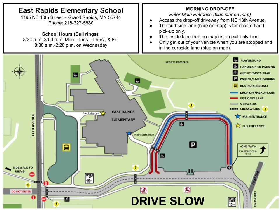 Map of pick up and drop off. Contact us for alternate document.