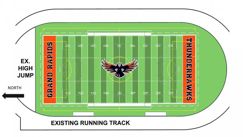 Rendering of Noble Hall Field with turf