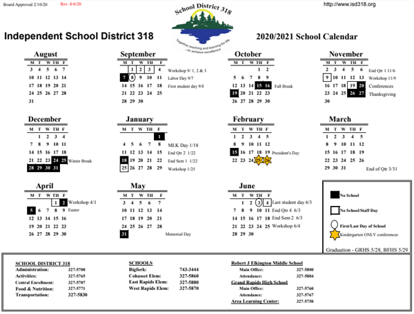 Image of school calendar, click above for pdf