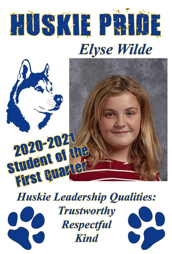 Elyse Wilde Student of the Quarter